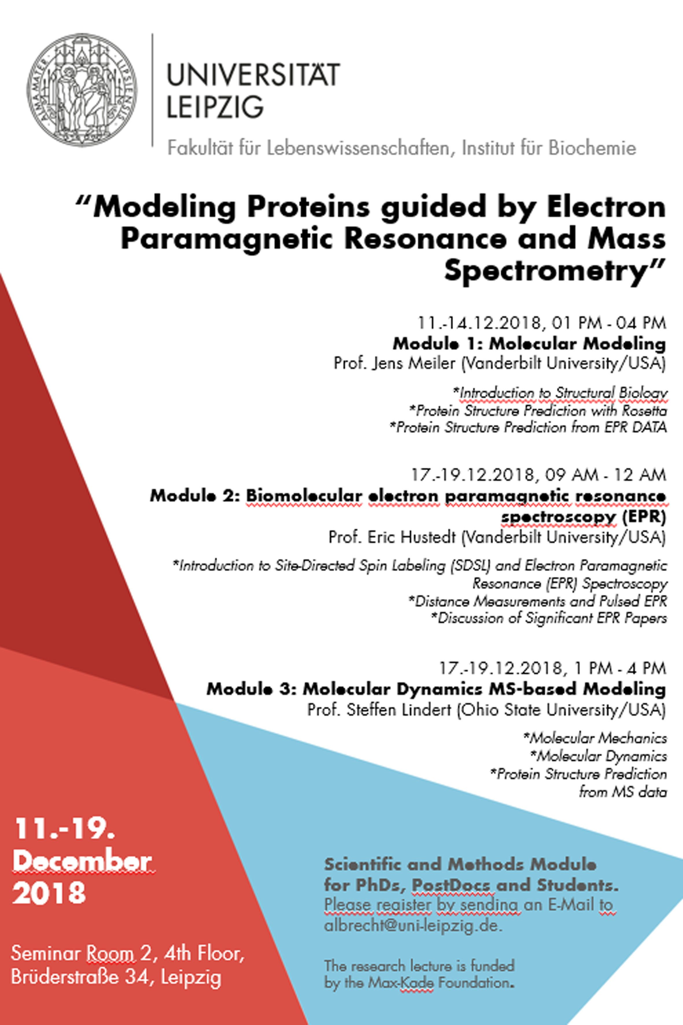 """Lecture on """"Modeling Proteins guided by Electron Paramagnetic Resonance and Mass Spectrometry"""" at Leipzig University"""