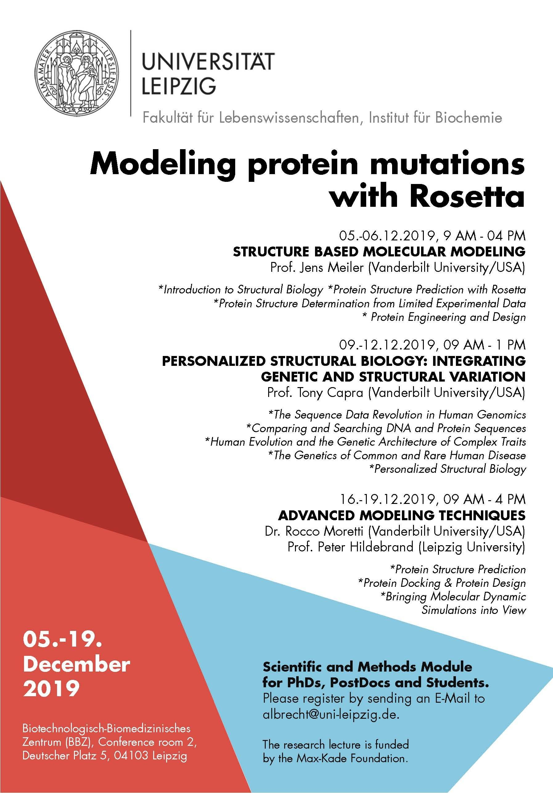 "Lecture on ""Modeling protein mutations with Rosetta"" at Leipzig University"